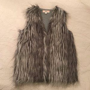 Fur front sweater vest